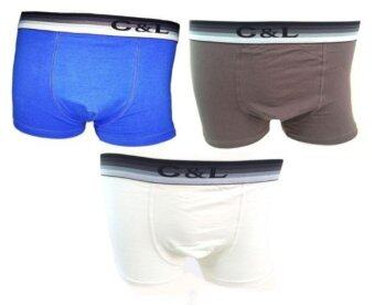 C&L กางเกงชั้นในชายขาสั้น (Buy2Get1) S88 (สีน้ำเงิน+สีน้ำตาล+สีขาว) ขอบโชว์
