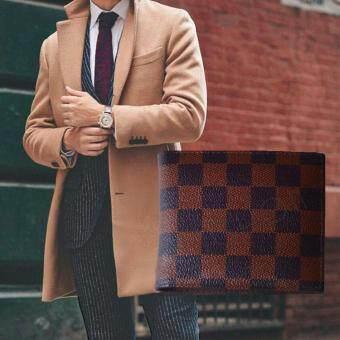 Nuchon Bag Damier กระเป๋าเงิน กระเป๋าหนัง กระเป๋าสตางค์ ผู้ชาย รุ่น MenBagDamier-น้ำตาล/Short