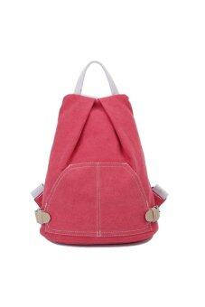 Women's Girls Casual Preppy Style Canvas Backpack Rucksack School Bag Travel Bag Rosy