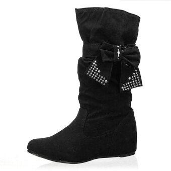 แฟชั่นฤดูหนาวอบอุ่น Chelsea ผู้หญิงสวมรองเท้าบู๊ตหนังวัวตอกรองเท้าแบนหูกระต่ายกลาง-ในประเทศ