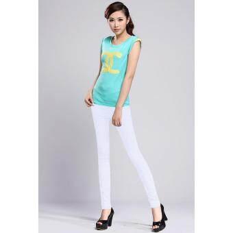 กางเกงขายาว ผ้ายืดหยุ่น Stretchable Korean Style Casual Pants (สีขาว)