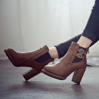 สาวส้นสูงรัดหนังยางหนาเท่าก้นไปรษณีย์ Martins แฟชั่นรองเท้าสตรีรองเท้าบู๊ต-ระหว่างประเทศ
