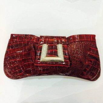 NumpungShop กระเป๋าครัชหนัง ( สีแดง )