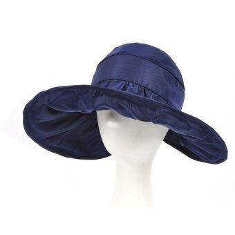 หมวกปีกกว้าง ป้องกันแดด UV -สีน้ำเงิน