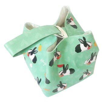 Kouple กระเป๋าหนังพีวีซีพิมพ์ลายกระต่ายน้อยน่ารัก - สีเขียว