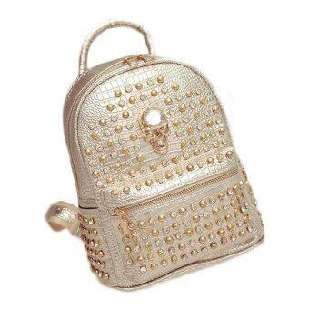 Lady Travel Backpack Shoulder Bag Rivet Punk Package crocodile Lines Bag กระเป๋าเป้สะพายหลัง รุ่น (Glod,M)