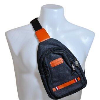 Nuchon AOJIALIS Canvas Shoulder Chest Hiking Bag กระเป๋าสะพายข้างสีกรมท่า/ส้ม