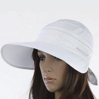 สาวร้อนเสื้อกอล์ฟแอนตี้ยูวีปีกกว้างหมวกหน้ากากหมวกหูกระต่ายแสงแดดหาดขาว