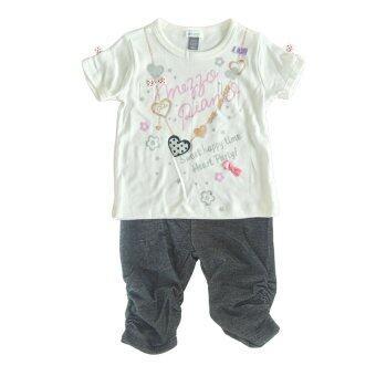 Petit Lem ชุดเสื้อยืดแขนสั้น พื้นสีขาวสกรีนลายสร้อยรูปหัวใจ + กางเกงเลคกิ้งสีดำสม๊อกปลายขา