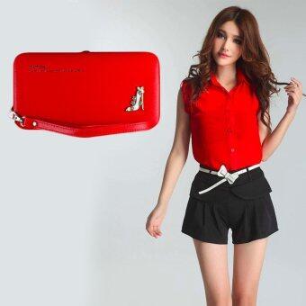 Nuchon Bag กระเป๋าสตางค์ ใส่มือถือ Smart Wallet Iphone 6 Plus Size L (Red)