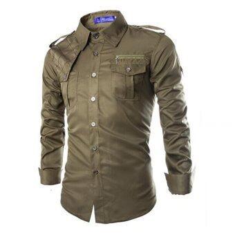 แขนเสื้อยาวบางคนก็ใส่ทรงออกแบบสไตล์เสื้อเชิ้ตลำลองทหาร (กองทัพสีเขียว)