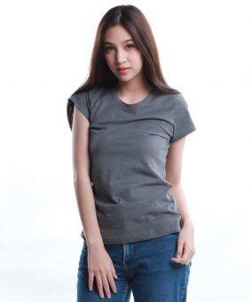 SimpleArea Premium cotton T-shirts เสื้อยืดคอกลม - Cement