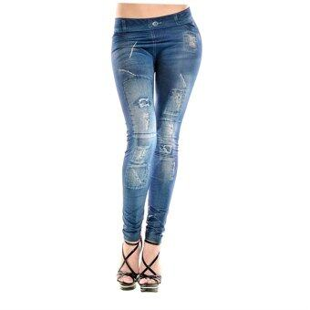 Allwin กางเกงแฟชั่นผู้หญิงกางเกงยีนแปลกปลอมภาพฉีกขากางเกงฟรีไซส์เล็กสีน้ำเงิน