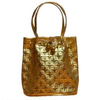 Nuchon Bag กระเป๋าคล้องแขน กระเป๋าถือ ทรงขนมจีบ แบบรหูรูด สีทอง รุ่น Gold/Gold