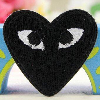 2 x การ์ตูนบนแผ่นเหล็กร้อยหัวใจเย็บติดเสื้อผ้า Appliques ลวดลายสีดำ-ระหว่างประเทศ