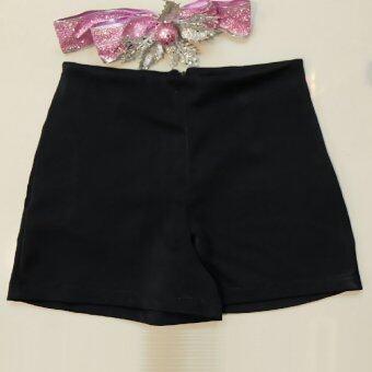 All About Me กางเกงขาสั้น ผ้าฮานาโกะ สีดำ