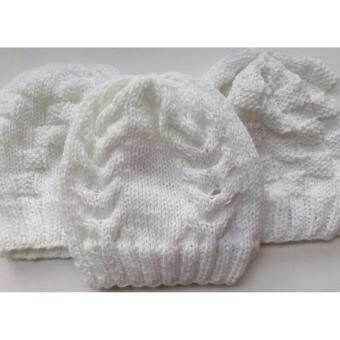 Handmade หมวกถักไหมพรมสีขาว 3 ใบ 3 ลาย