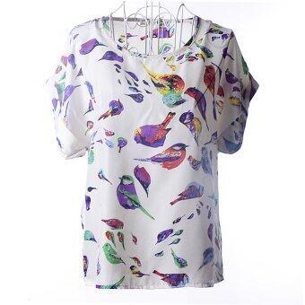 Allwin ชีฟองเสื้อแฟชั่นสตรีซัมเมอร์ลำลองเสื้อเชิ้ตแขนสั้นเสื้อหลวม Batwing นก