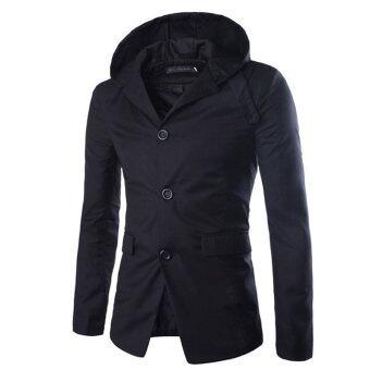 ฤดูใหม่สบายชายเสื้อแจ็กเก็ตกันลมส่วนยาวสีดำ-ระหว่างประเทศ