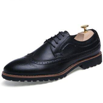 YINGLUNQISHI ผู้ชาย Bullock ปลายรองเท้าหนังเลือกเจ้านายแต่งตัว J610 (สีดำ)
