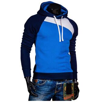 เสื้อกีฬาสีกะบุรุษมีฮู้ดเสื้อนอกรั้วชุ่มเสื้อกรมท่าขาวสีน้ำเงิน