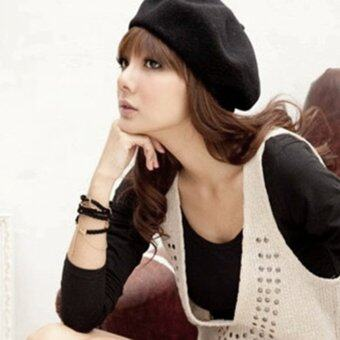 โอนิวฤดูหนาวหมวกแฟชั่นหมวกสตรีหมวกทรงสีดำ