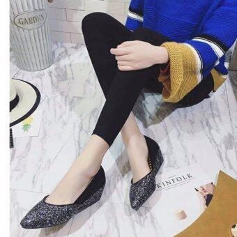รองเท้าคัชชูส้นเตารีดหนังกากเพชร(สีดำ)