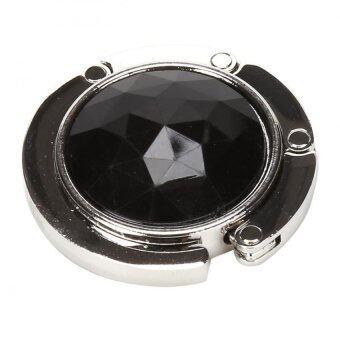 ไม้แขวนเสื้อแบบพกพากระเป๋าถือกระเป๋าเงินติดคริสตัลพับพับพลาสติกสีดำ