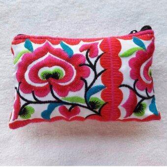 Argento88 กระเป๋างานHandmade แบบปักลายสวยงาม สีชมพู