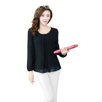 Lady Long-sleeved Straight Chiffon Blouses Shirts Unlined Upper Garment Black (Intl)