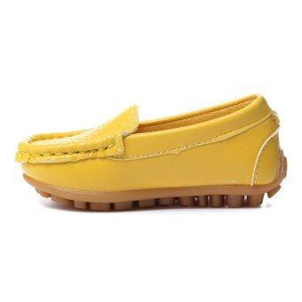 รองเท้าเด็กรองเท้าหนัง Pu สำหรับทั้งชาย และหญิงรองเท้าพื้นรองเท้านุ่มลื่นล้มบนเรือจรแฟลต