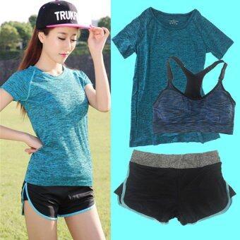SPORT ชุดออกกำลังกาย โยคะ Indoor Exercise Clothing แพ็คคู่ 3 ชุด- Blue (สปอร์ตบรา+กางเกงสำหรับออกกำลังกาย+sport clothing)