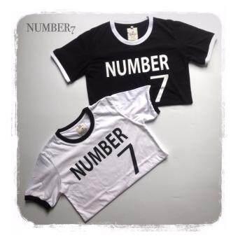 NUMBER7 001 ขาว คอ ดำ สกรีน