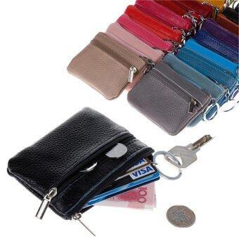 ผู้หญิงผู้ชายหนังแท้มินิซิปกระเป๋าสตางค์กุญแจเงินเหรียญอัฐสีม่วง