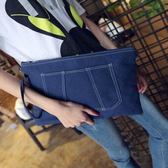 กระเป๋าClutchผ้าใบ สีน้ำเงิน