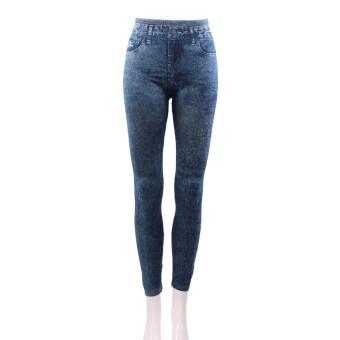 Allwin ยืดยีนส์ผู้หญิงกางเกงยีนดูผอมเพรียว Jeggings กางเกงรัดรูปสีน้ำเงิน
