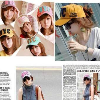 หมวกแก๊ปผู้หญิง-ชายสไคล์เกาหลี NYC รุ่น M91 สีชมพู