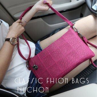 Nuchon กระเป๋าแฟชั่น กระเป๋าคล้องแขน กระเป๋าสะพาย ลายตารางสีเหลี่ยม รุ่น N8859- สีชมพูเข้ม