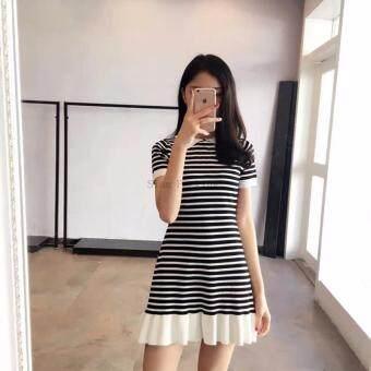 NW Fashion ชุดเดรสแฟชั่นคอปกลายทาง ขาว-ดำ