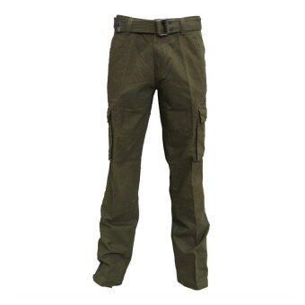 Hoosters กางเกงแฟชั่นขายาว มีกระเป๋าเสริม (เขียว)