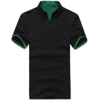 เสื้อโปโลบุรุษทรงเพรียวสันทนาการเสื้อยืดแขนสั้นเสื้อ (สีดำ)