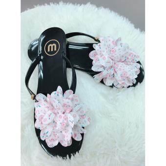 รองเท้าหูหนีบติดดอกไม้สไตล์เกาหลี (ดอกสีขาว)