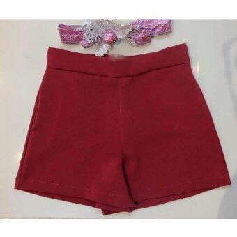All About Me กางเกงขาสั้น ผ้าฮานาโกะ สีแดง