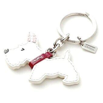Coach Scotties Dog Patent Leather Key Chain - White