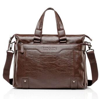 กระเป๋าหนังแท้บุรุษกระเป๋าสะพายกระเป๋าถือลำลองขี้ผึ้ง (สีน้ำตาลอ่อน)