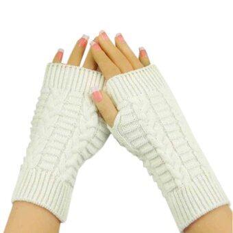 ถุงมือถักแขนแฟชั่นฤดูหนาวอบอุ่นนุ่มนวลปราศจากเพศถุงมือขาว-ในประเทศ
