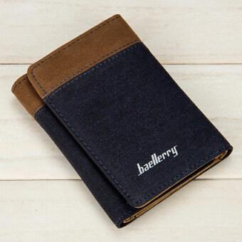 Baellerry กระเป๋าสตางค์ ผู้ชาย กระเป๋าเงิน กระเป๋าตัง บาง ทรงสั้น Wallet Mens Luxury Leather Credit/ID Card Holder Baellerry Billfold Coin Purse - Blue