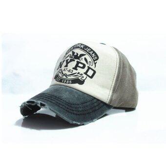5 ดาวสไตล์วินเทจลายหมวกตะหมวกเบสบอลผ้าปรับได้ (สีดำ)