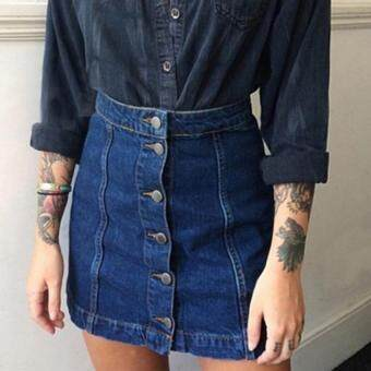 แฟชั่นกระโปรงยีนส์สาวเมินหน้ามินิปุ่มเอวสูงเป็นแนวกระโปรงกางเกงยีนส์น้ำเงิน