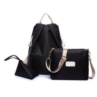 Bingo Fashion 3-psc Backpack Waterproof Nylon Oxford Bags - Backpack / Shoulder Bag / Small Bag(BLACK)